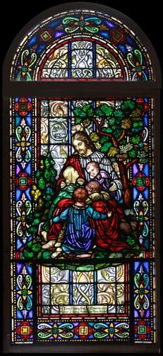 Vintage Christ with Children Stained Glass Window DESCRIPTION: Vintage Christ and the children stained glass window circa 1930s. The stained glass window set was produced by Payne Spiers Studio. The window is in two sections. Each section is in a wood frame.