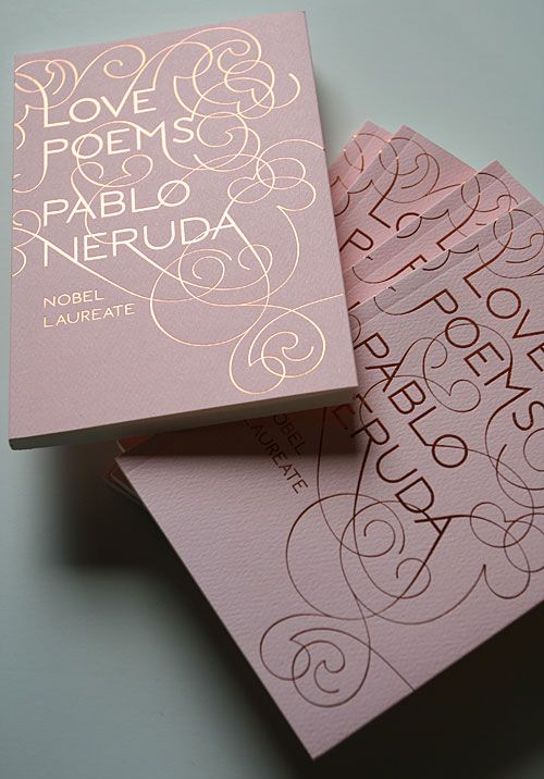 Small size, textured paper, copper foil on pink. Gorgeous tyopgraphy cover by Marian Bantjes.