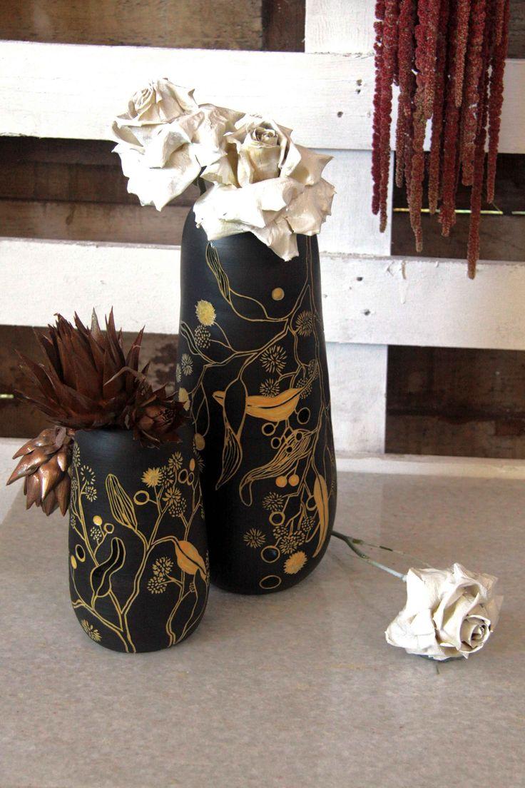 Large golden wattle vases by Danica Wichtermann www.rediscovering.com.au