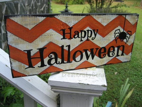 Hand Painted Happy Halloween Wood Sign by CreationsbyGena on Etsy, $20.00