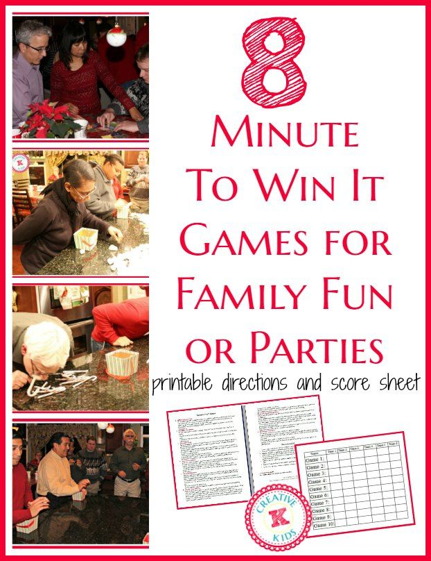 These Minute to Win It games are so fun and perfect for families or parties. Printable with 8 games and printable scoresheet are included plus pictures!