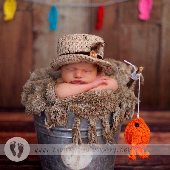 Popular Baby Fishing Hat & Fish SET Newborn 0 3m by NitaMaesGarden