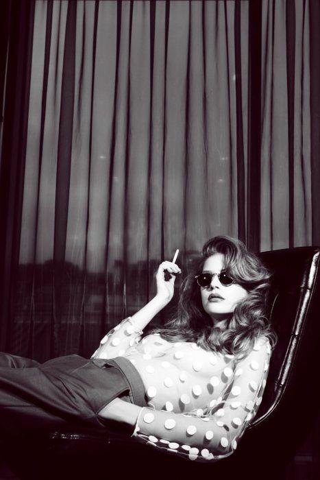 those shades, that hair, sheer polka dots...YES!