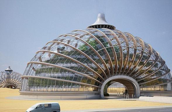 Dit gebouw is ontworpen door een paar Russische architecten. het gebouw heet The Ark hotel en past perfect bij de futuristische architectuur.