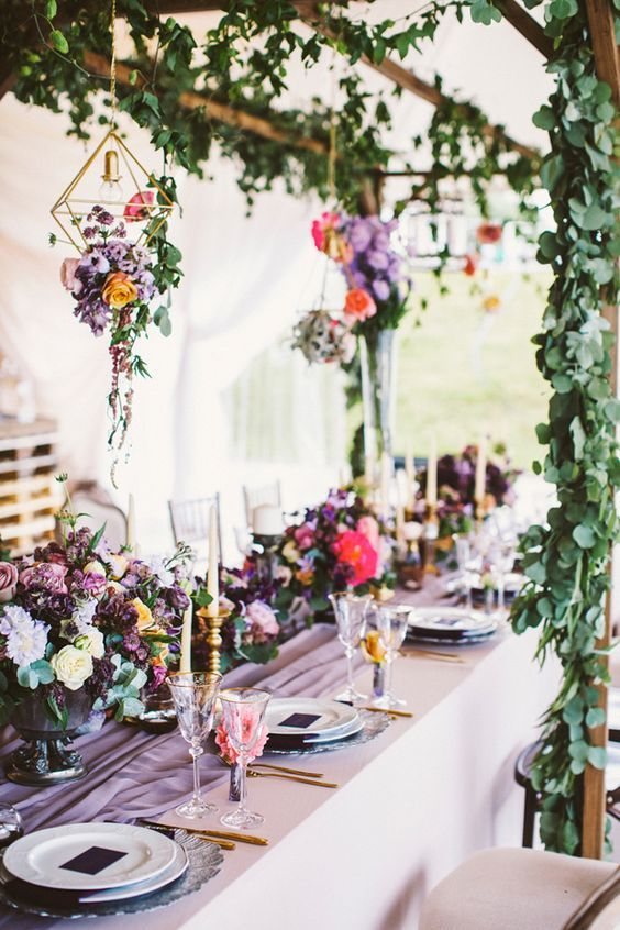 Purple wedding reception with hanging, geometric gold terrariums with flowers via Anastasia Volkova / http://www.deerpearlflowers.com/modern-himmeli-geometric-wedding-details/3/