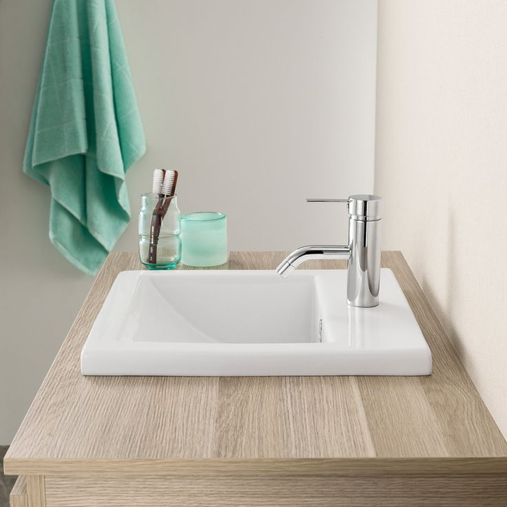 Photo Gallery On Website Shades of turquoise are always a great choice in a bathroom Caroma Liano Inset Basin