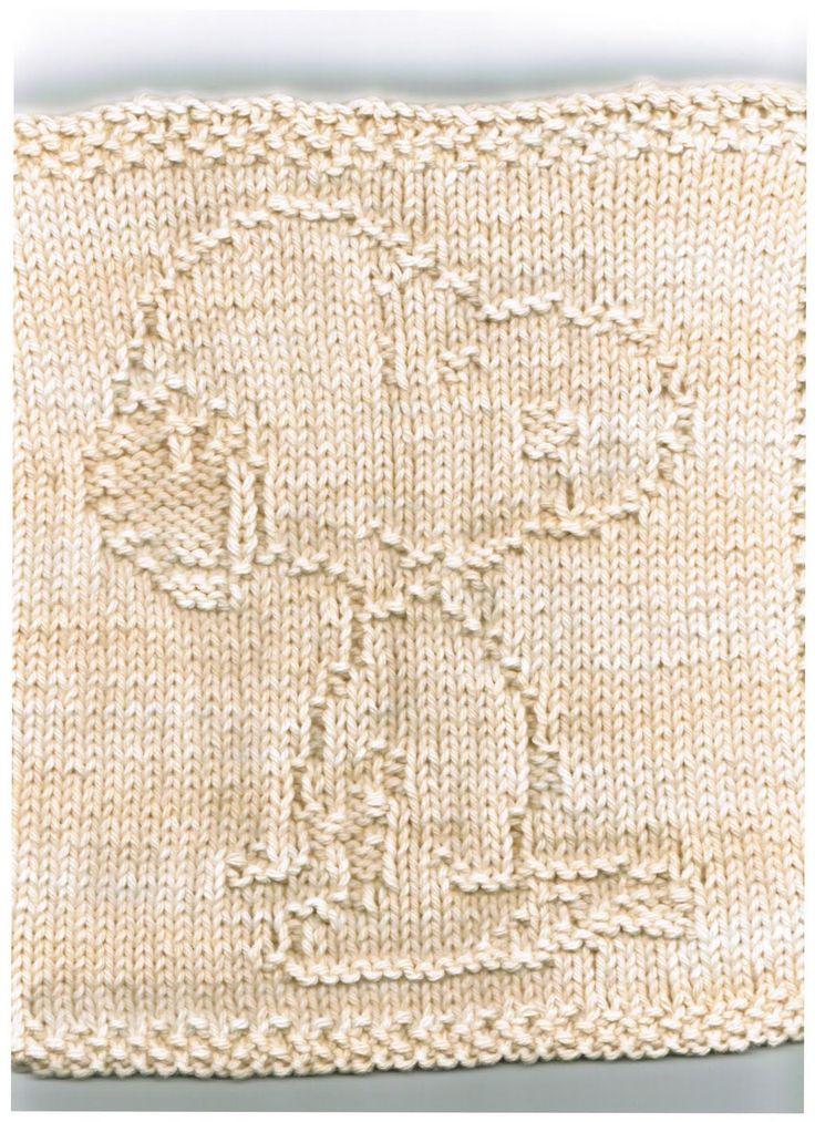 knit Snoopy washcloth