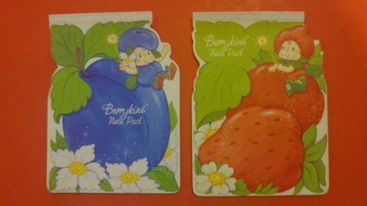2 Vintage Strawberry Shortcake Berrykins note pads #AmericanGreetings