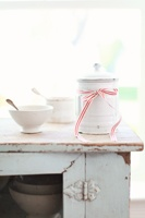 Vintage French Enamelware Canister