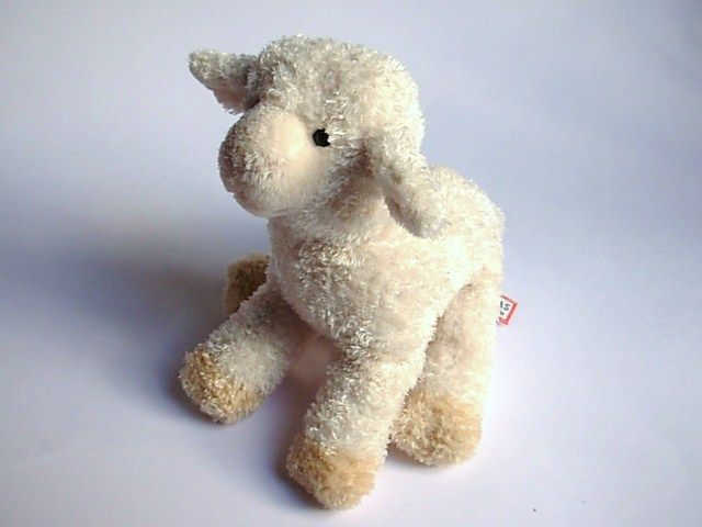 Douglas Lamb Plush Stuffed Animal White With Tan Hooves 7 Inches B