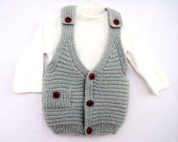 Gray Grey Handknit Baby Vest V Neck Knitted Boy by VessCrafts, $33.50