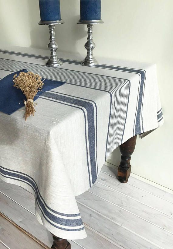 Linen Tablecloth French Country Dark Blue Striped Table Etsy Striped Table Linen Tablecloth Table Cloth
