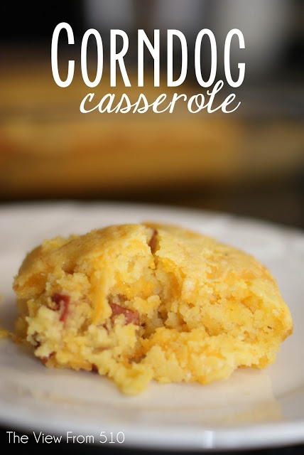 Corndog Casserole by theviewfromfiveten.com - this was a huge hit with my family, comfort food at it's finest, and gobbled up by the kiddos! #recipe