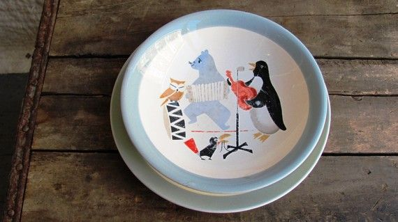Vintage c. 1950s Charming Mid-Century Scandinavian childrens bowl and plate set The pattern on both pieces depicts an adorable band of anthropomorphic animals: toucan, bear, owl and penguin Most likely glazed porcelain Marked on the base Egersund, Norway  Egersund Fayancefabrik made glazed porcelain and earthenware from 1847 to 1979 (via http://en.wikipedia.org/wiki/Egersund) in the city of Egersund, Norway