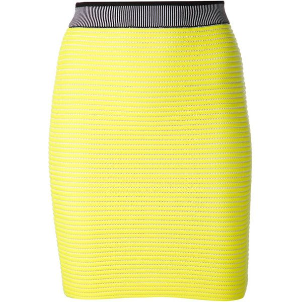 T by Alexander Wang Neon Knitted Stretch Cotton Skirt ($800) ❤ liked on Polyvore featuring skirts, mini skirts, yellow, pull on skirt, neon mini skirt, neon skirt, short skirts and neon yellow skirt