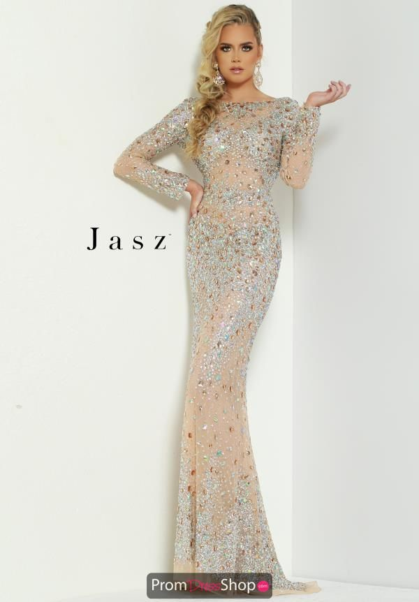 b49752f2994 Jasz Couture Long Sleeve Beaded Dress 6455 in 2019
