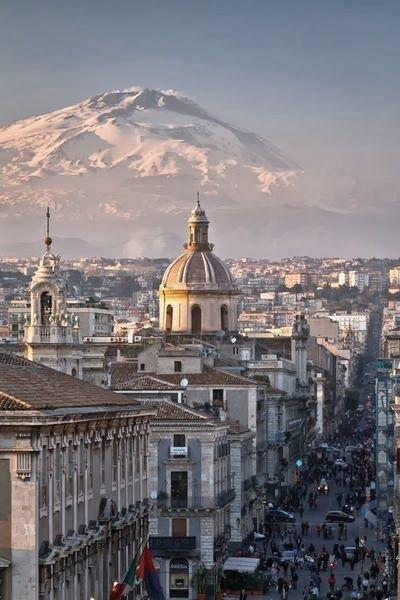 Catania, Sicily. City And Etna Volcano