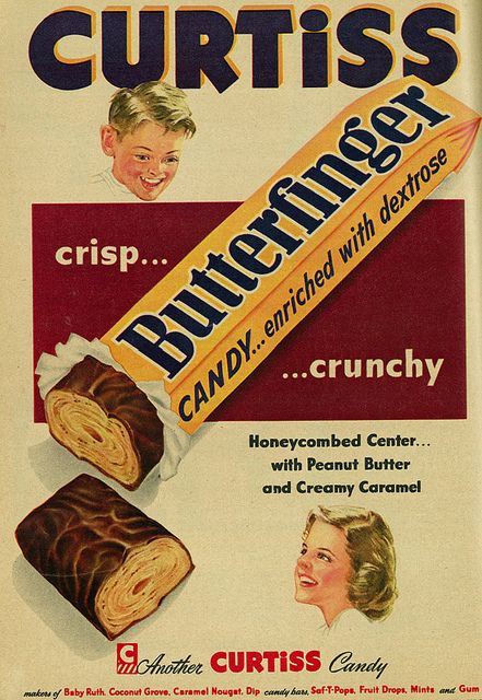 vintage food advertising even made Butterfingers look nasty. (Curtiss Butterfinger Candy Bar ad, 1953.)