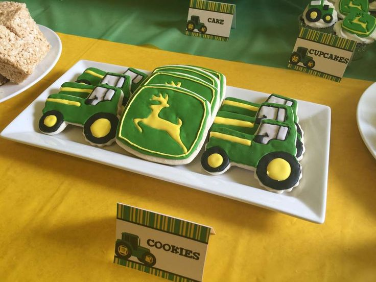 Tractor cookies at a John Deere birthday party! See more party ideas at CatchMyParty.com!