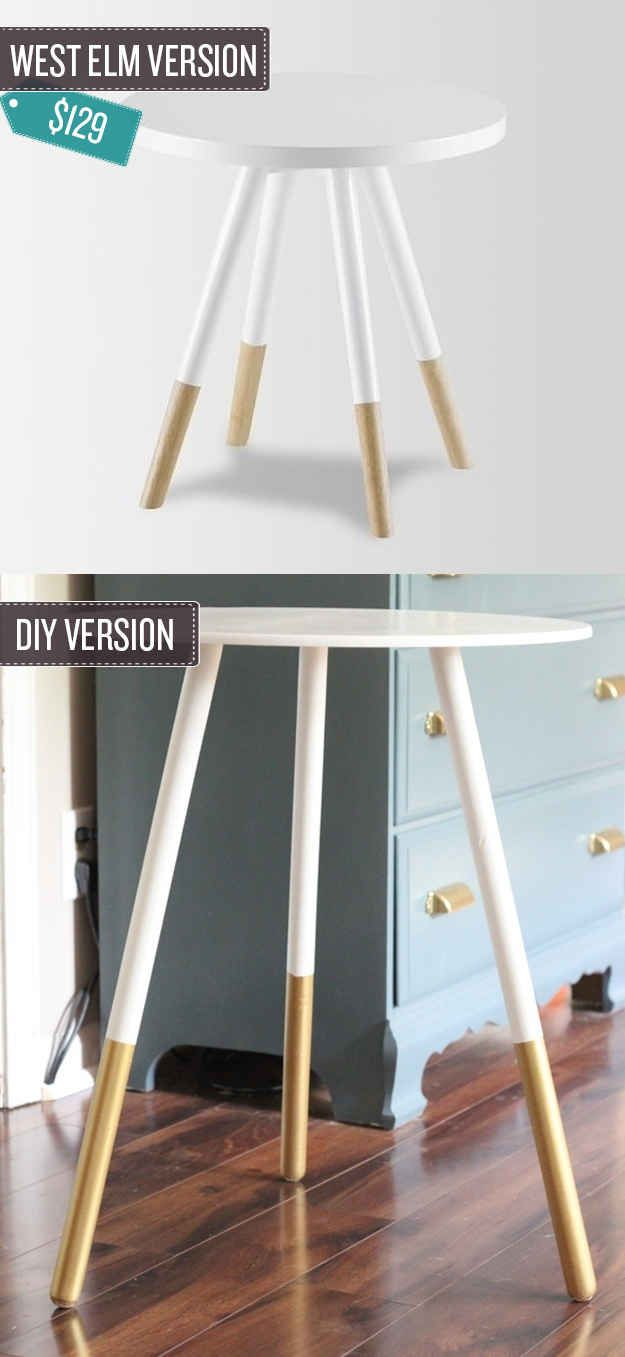 Transform a basic table with a dip painted effect. | 24 West Elm Hacks
