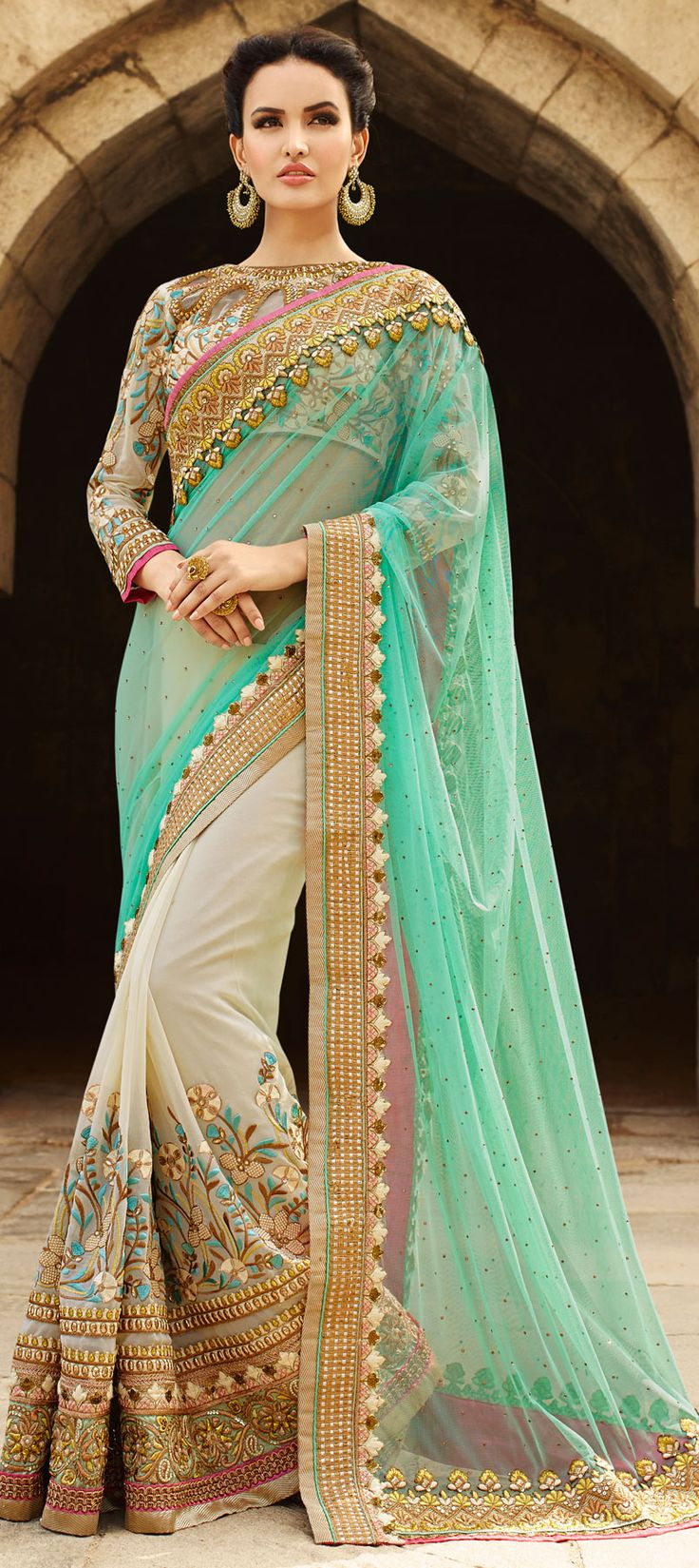 180739: Green, White and Off White color family Bridal Wedding Sarees with matching unstitched blouse.