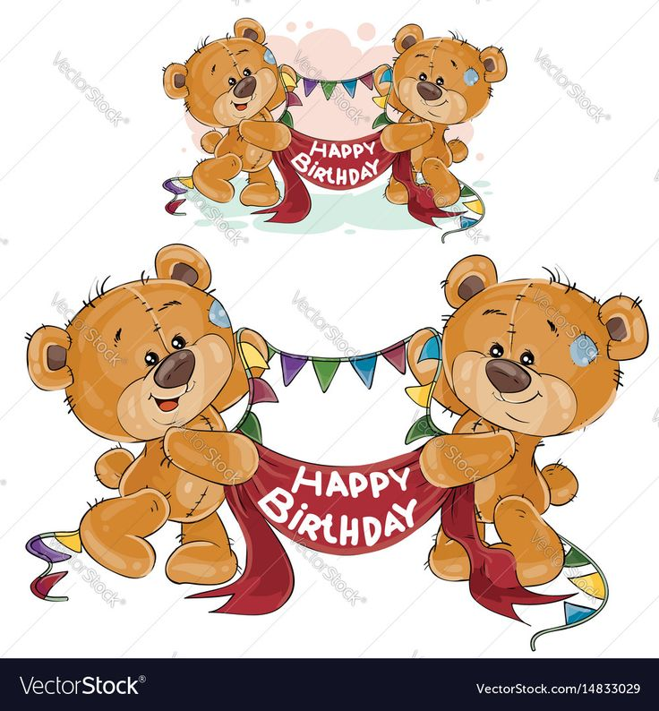 Vector illustration of two brown teddy bears holding in their paws a garland and banner with the inscription Happy Birthday. Print, template, design element for greeting cards and invitations. Download a Free Preview or High Quality Adobe Illustrator Ai, EPS, PDF and High Resolution JPEG versions.