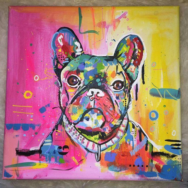 'Kleurrijke dieren', 30x30cm, acryl en mixed media op canvas. www.janetedens.nl