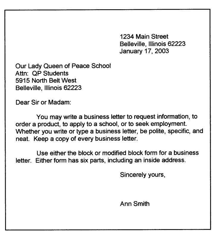 Personal Business Letter Format | Sample business letter, modified block format: