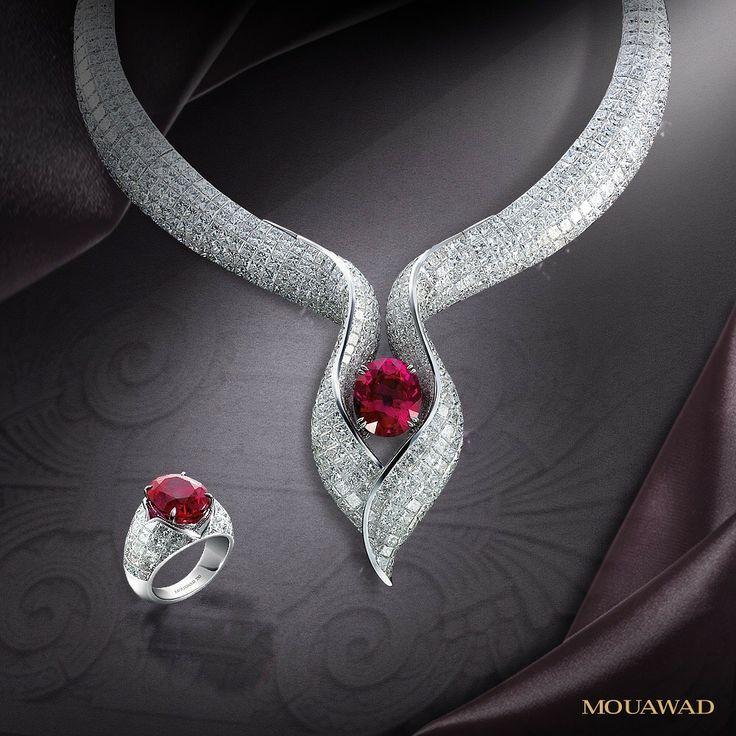 GABRIELLE'S AMAZING FANTASY CLOSET Mouawad Ruby and Diamond Demi Parure of Necklace & Earrings Mounted in 18K White Gold with Square-Cut Diamond Pave Throughout | You can see the Rest of the Outfit and my Remarks on this board. - Gabrielle