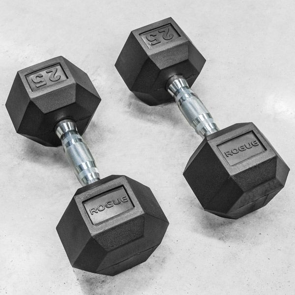 Rubber Coated Hex Dumbbell set - Rogue Fitness branded York dumbbells.  Best price found...