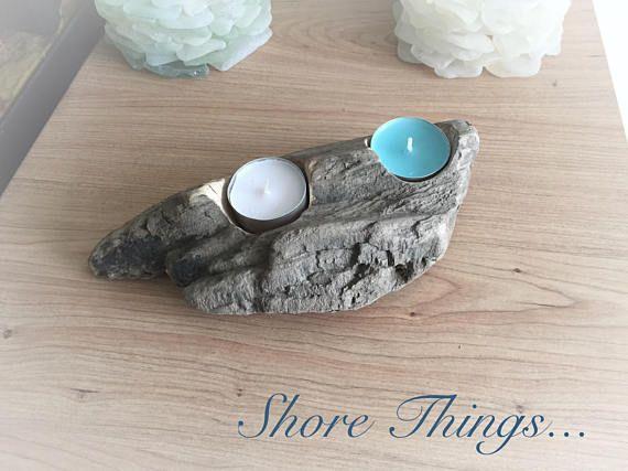 Driftwood Tea Light Holder, Beach Style Candle Holder, 2 pc Tea Light, Table Centre Piece, Beach Wedding, Nautical Decor