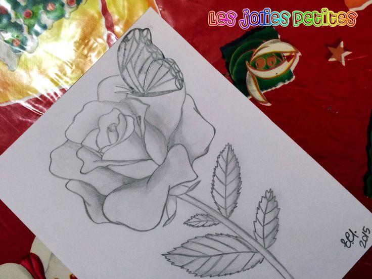 #Rosa con #farfalla - #matita B su #foglio liscio 15x20cm #drawing #rose #butterfly #fabriano #staedtler #lesjoliespetites