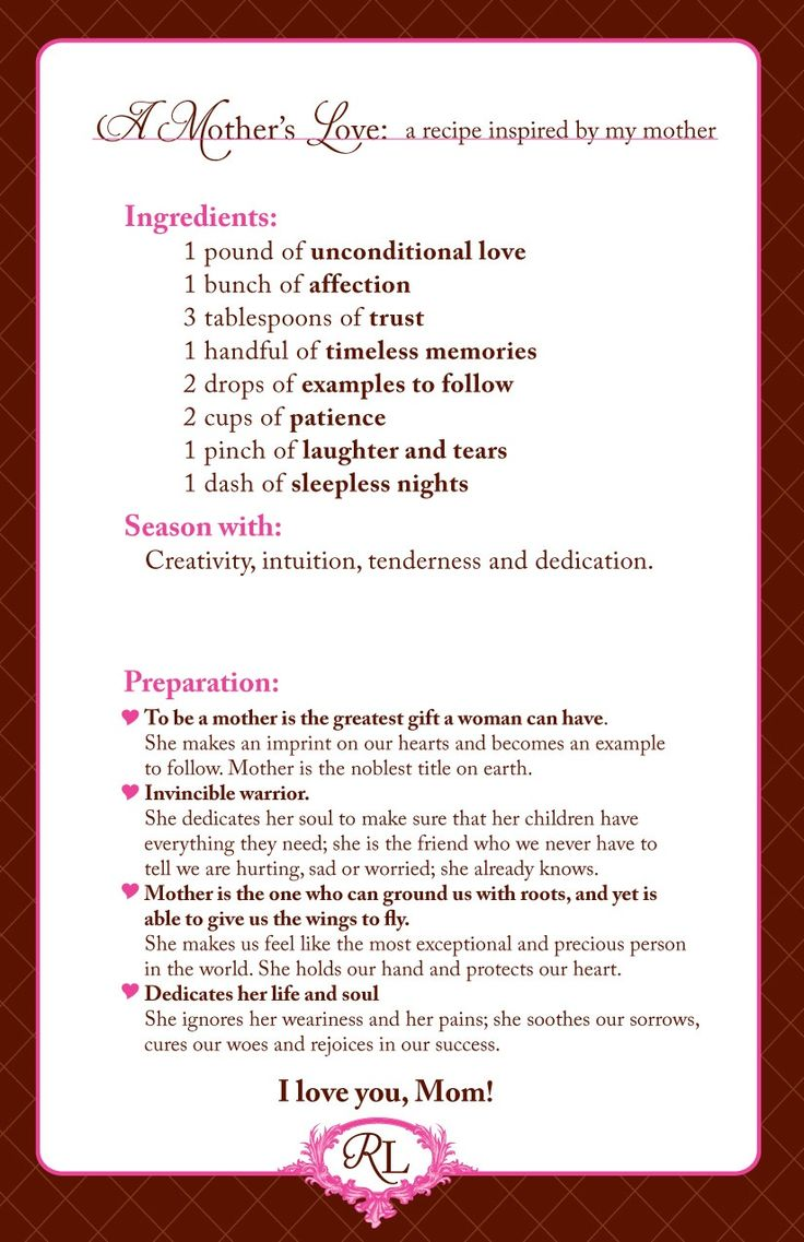 mother's day recipe poem Google Search Happy mother