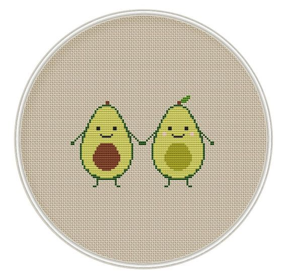 Avocado Cross Stitch Pattern Kawaii Cross by MagicCrossStitch