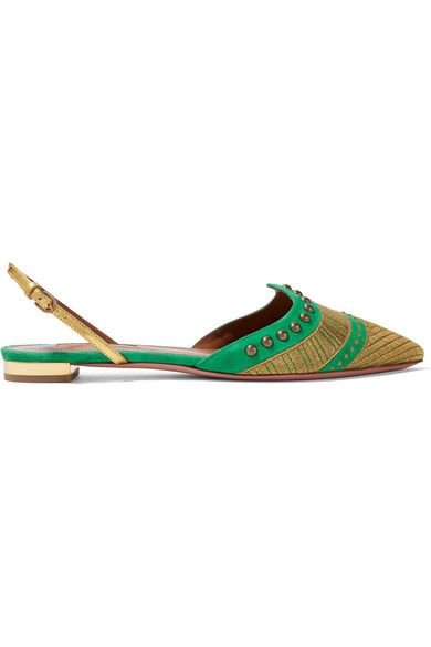 Aquazzura - Marrakech Embellished Suede Point-toe Flats - Green