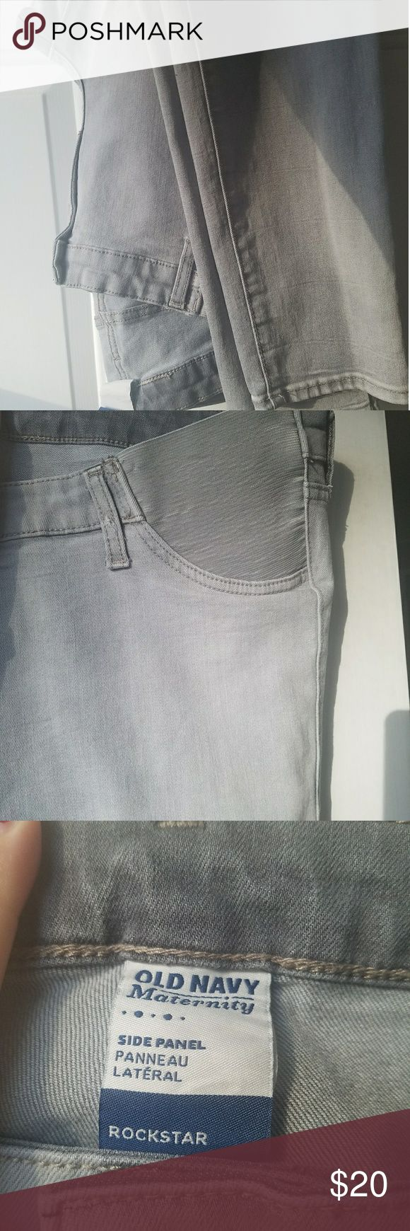 Old Navy Rockstar Maternity jeans - size 14 EUC - worn a handful of times. Grey distressed stretch skinny fit jeans.  Side panel. Incredibly comfortable. Can be dressed up or down. Old Navy Jeans Skinny