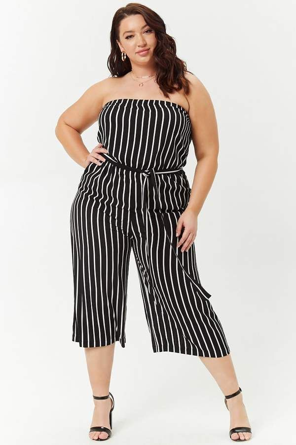 f4293cfe833dc Forever 21 Plus Size Striped Culotte Jumpsuit