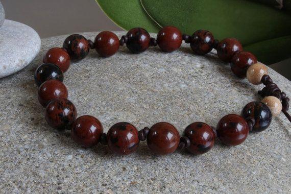 Men's Obsidian Beaded Bracelet, Leather Bracelet for Men, Gemstone Bracelet, Healing Bracelet, Energy Bracelet, Gift for Men,Jewelry for Him