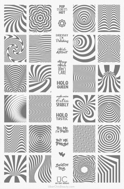 """This stamping plate is loaded with optical illusion, swirls, watermarble designs and even cute little sayings such as """"Swatch This"""", """"Holo Queen"""" and """"Tell Me I'm Pretty"""" to design your next manicure                                                                                                                                                                                  More"""