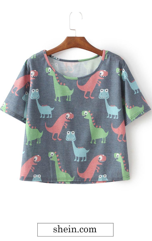Grey Cartoon Dinosaur Irresistible Ugly Print T-Shirt