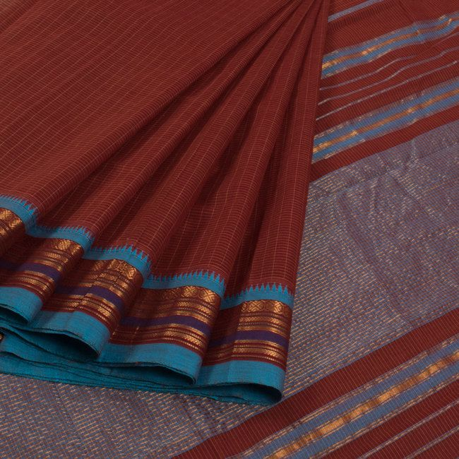 Buy online Handwoven Brown Narayanpet Cotton Saree With Checks, Zari Border & Without Blouse 10013292