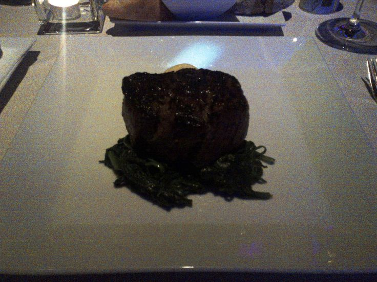 Beef filet (250gr) from the char coal grill with sautéed spinach, mashed potatoes and café de paris @ Restaurant Albertina Passage