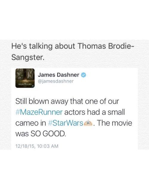 James Dashner´s tweet about Thomas Brodie-Sangster. <<<wait wat he was in Star Wars? Witch one? Where?