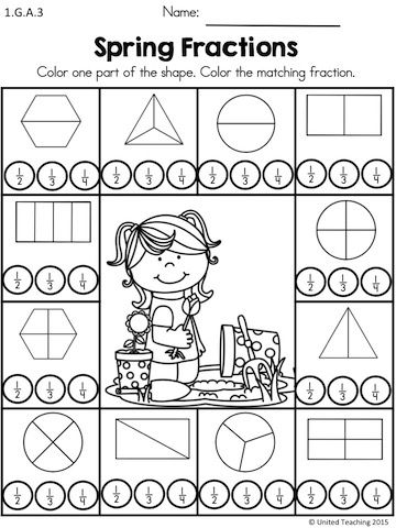 Spring Fractions >> Color one part of the divided shapes and dot the…