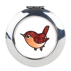 Cute Ruby Red Bird Round Compact Mirror $15.59 #cute #bird #cosmetic #mirror