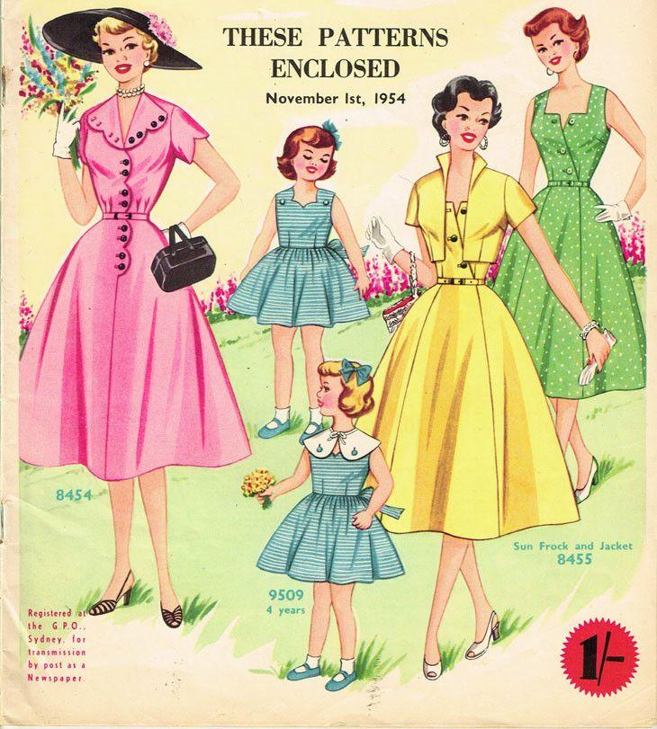 1950s Australian Home Journal Magazine 3 Dress Patterns Nov 1954 Size