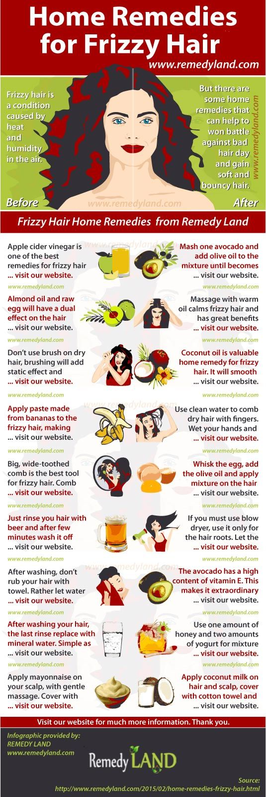 Frizzy Hair Home Remedies for Managing a Dry, Brittle, Unruly Hair - Remedy Land #FrizzyHair #haircare #homeremedies