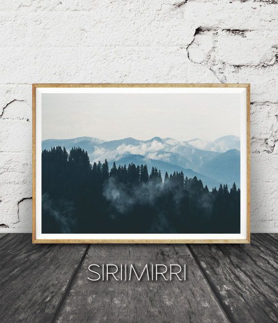 Berg Print Fotografie, Wandkunst Wildnis, Wildnis-Dekor, Berg Print, Natur Foto, druckbare Kunst, stimmungsvolle Landschaft blau Kunst