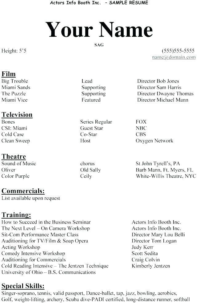 Beginners Actors Resumes Bodumwesternscandinavia In 2020 Acting Resume Template Acting Resume Resume Examples