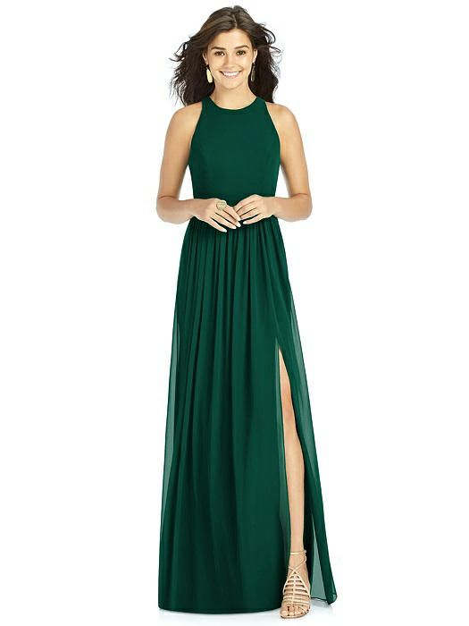 34f86662241 The romantic form of this full-length lux chiffon bridesmaid dress offers a  flattering fit and a stylish effect. Spaghetti straps anchor its v-neckline  ...
